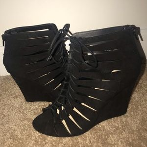 Lace Up Black Booties Size 9